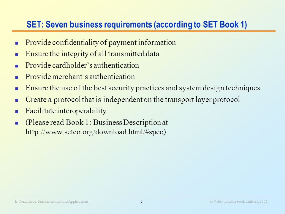 _______________________________________________________________________________________________________________ E-Commerce: Fundamentals and Applications16  Wiley and the book authors, 2001 Basic Operation of Millicent Protocol  Buy the scrips of different vendors  Send the aggregated scrips  Pay by the scrips  Confirm the payment Customer Broker Merchant  Check for the validity of the scrips and whether they have been spent from the database