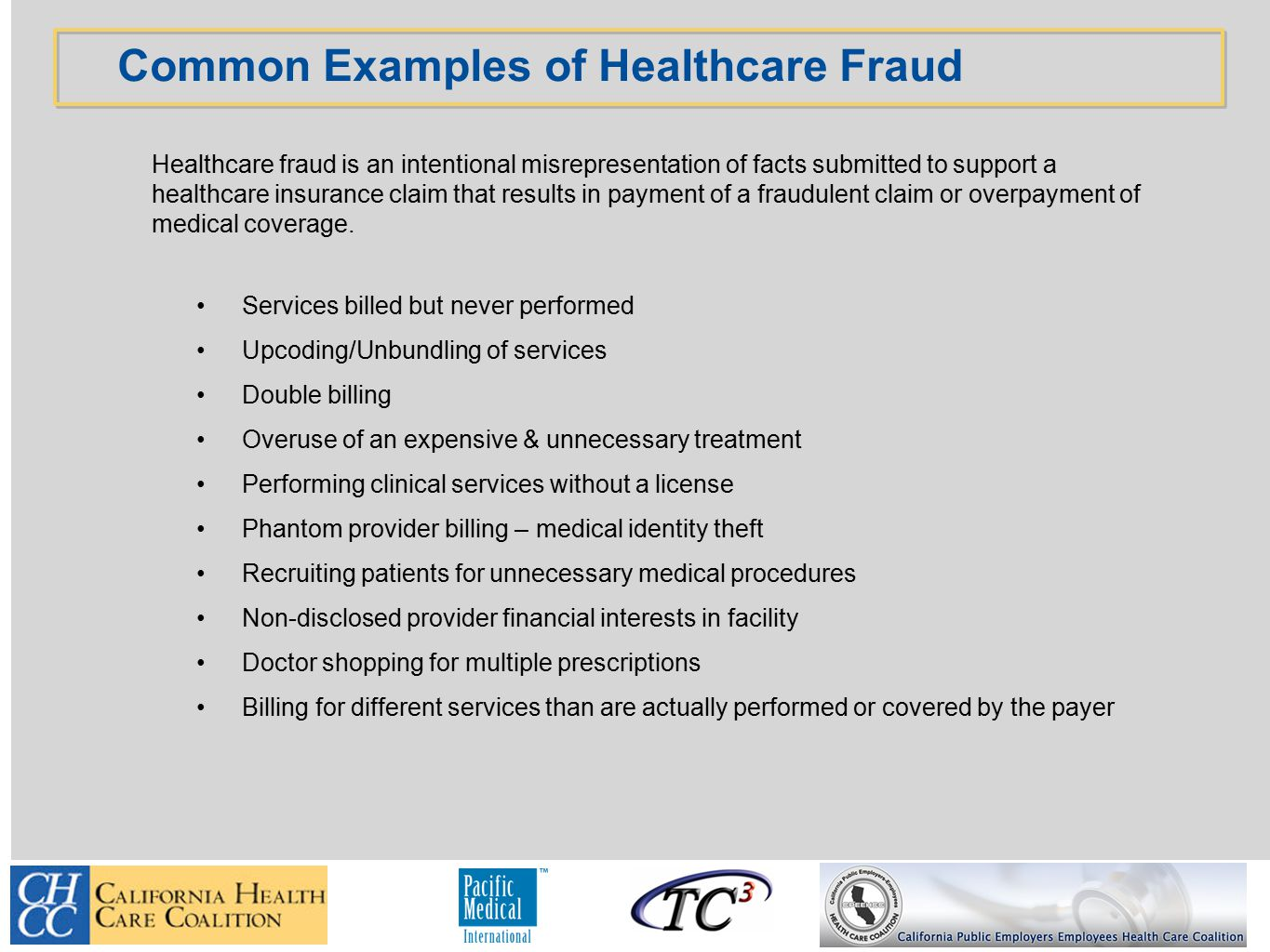 Healthcare fraud is an intentional misrepresentation of facts submitted to support a healthcare insurance claim that results in payment of a fraudulent claim or overpayment of medical coverage.