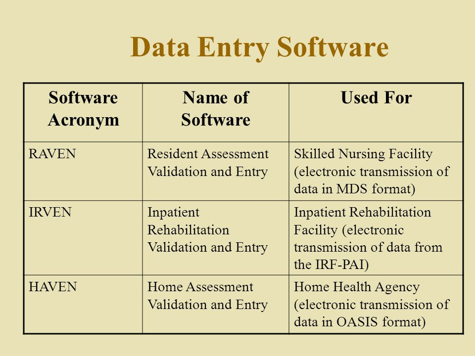 Data Entry Software Software Acronym Name of Software Used For RAVENResident Assessment Validation and Entry Skilled Nursing Facility (electronic transmission of data in MDS format) IRVENInpatient Rehabilitation Validation and Entry Inpatient Rehabilitation Facility (electronic transmission of data from the IRF-PAI) HAVENHome Assessment Validation and Entry Home Health Agency (electronic transmission of data in OASIS format)