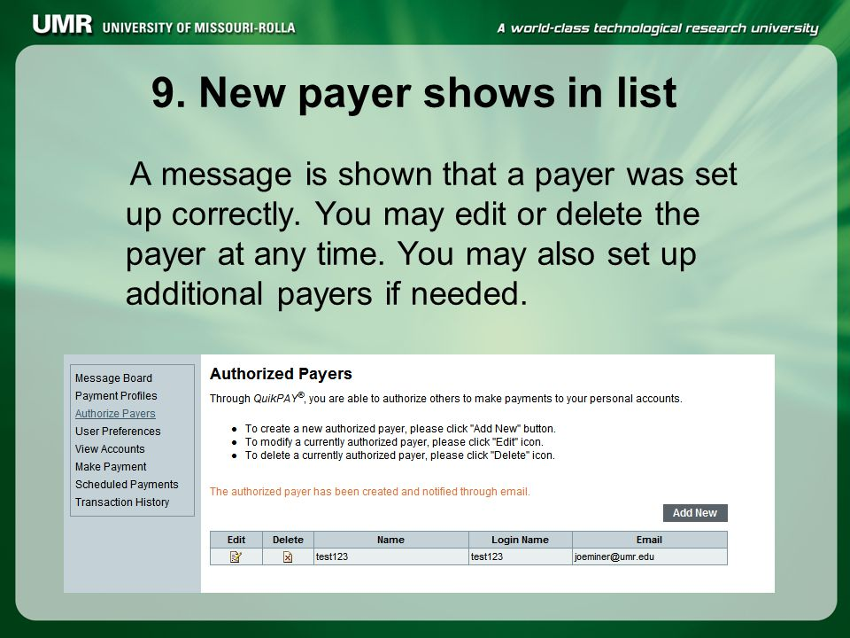 9.New payer shows in list A message is shown that a payer was set up correctly.