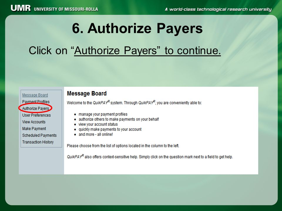 "6. Authorize Payers Click on ""Authorize Payers"" to continue."
