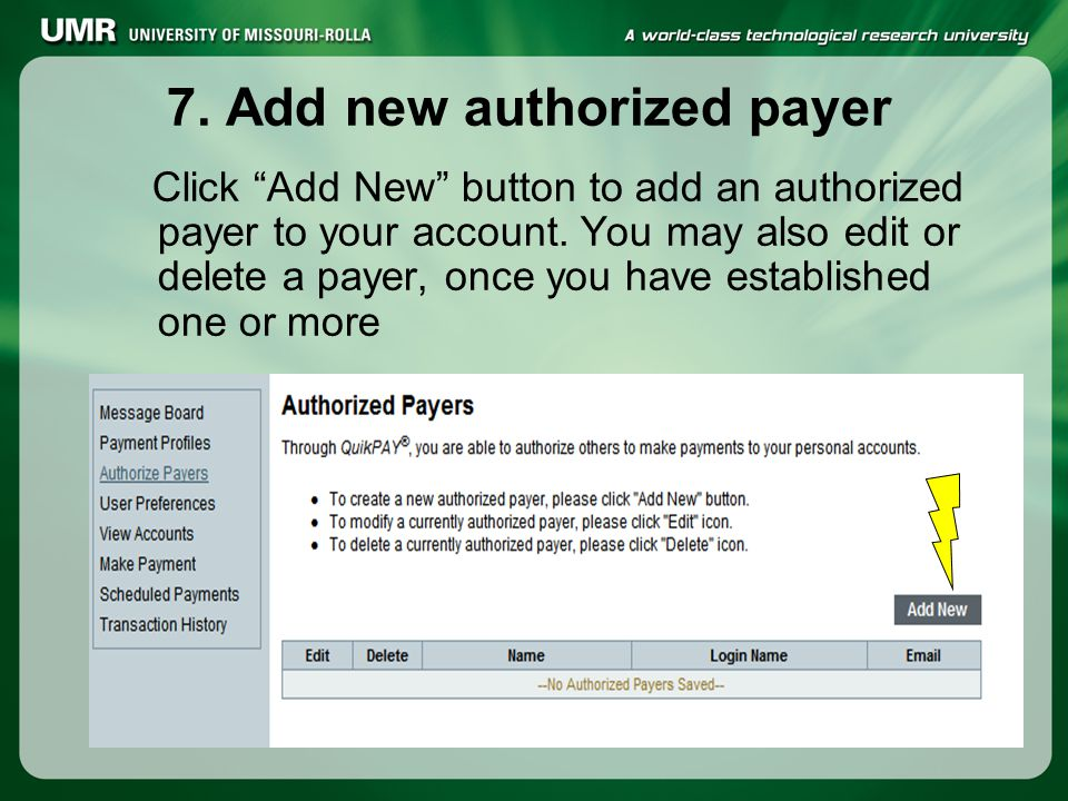 7.Add new authorized payer Click Add New button to add an authorized payer to your account.