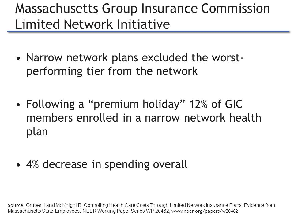 Massachusetts Group Insurance Commission Limited Network Initiative Narrow network plans excluded the worst- performing tier from the network Following a premium holiday 12% of GIC members enrolled in a narrow network health plan 4% decrease in spending overall 11 Source: Gruber J and McKnight R.