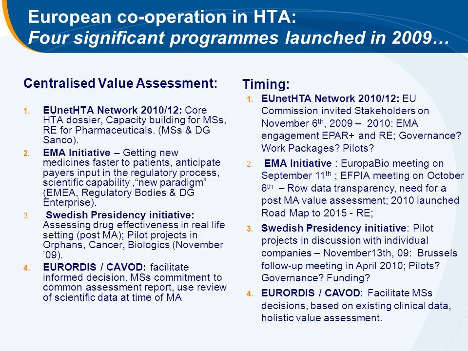 European co-operation in HTA: Four significant programmes launched in 2009… Centralised Value Assessment: 1. EUnetHTA Network 2010/12: Core HTA dossie