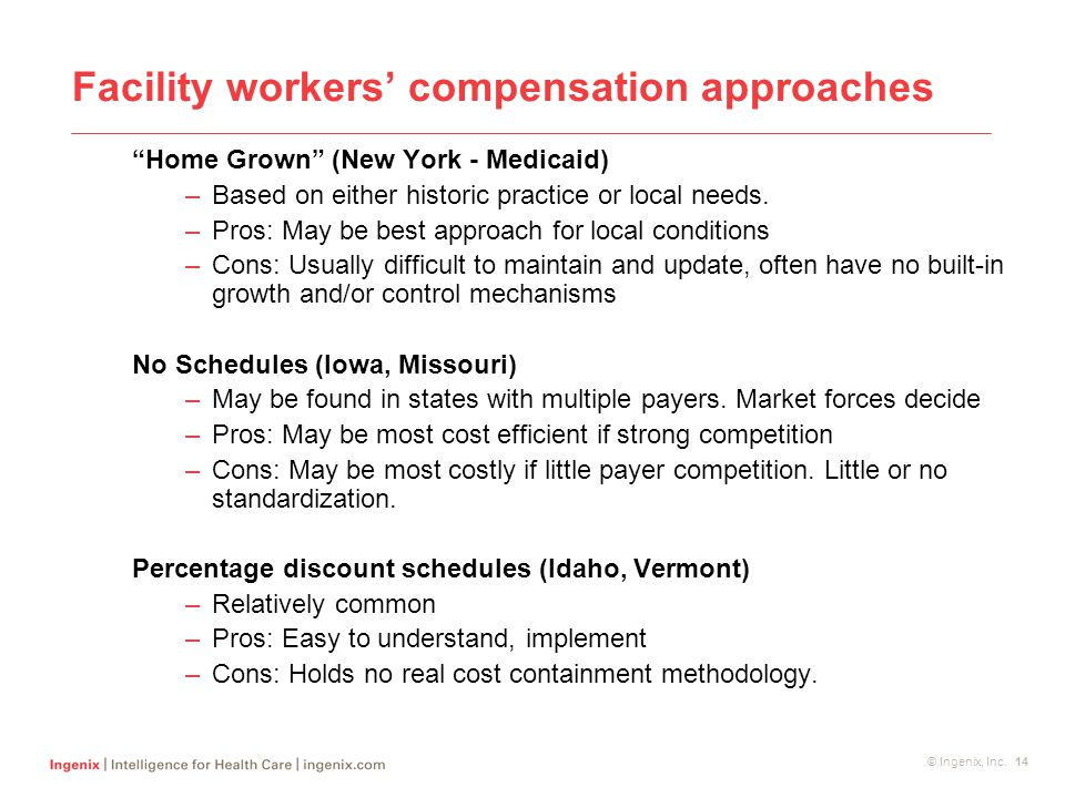 "© Ingenix, Inc. 14 Facility workers' compensation approaches ""Home Grown"" (New York - Medicaid) –Based on either historic practice or local needs. –Pr"