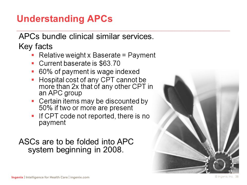 © Ingenix, Inc. 38 Understanding APCs APCs bundle clinical similar services. Key facts  Relative weight x Baserate = Payment  Current baserate is $6