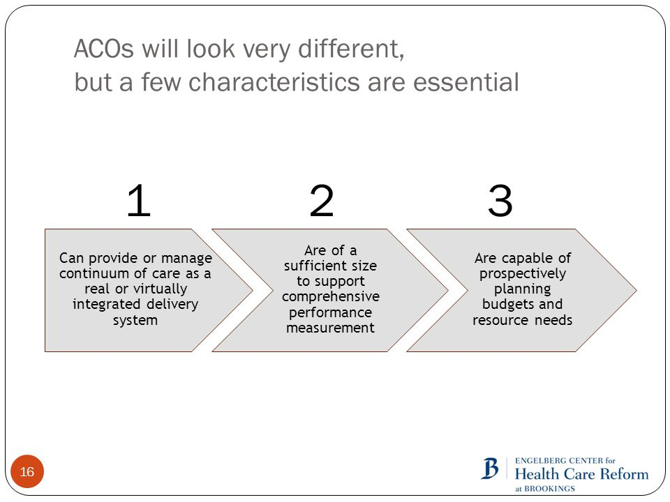 ACOs will look very different, but a few characteristics are essential 16 Can provide or manage continuum of care as a real or virtually integrated delivery system Are of a sufficient size to support comprehensive performance measurement Are capable of prospectively planning budgets and resource needs 123