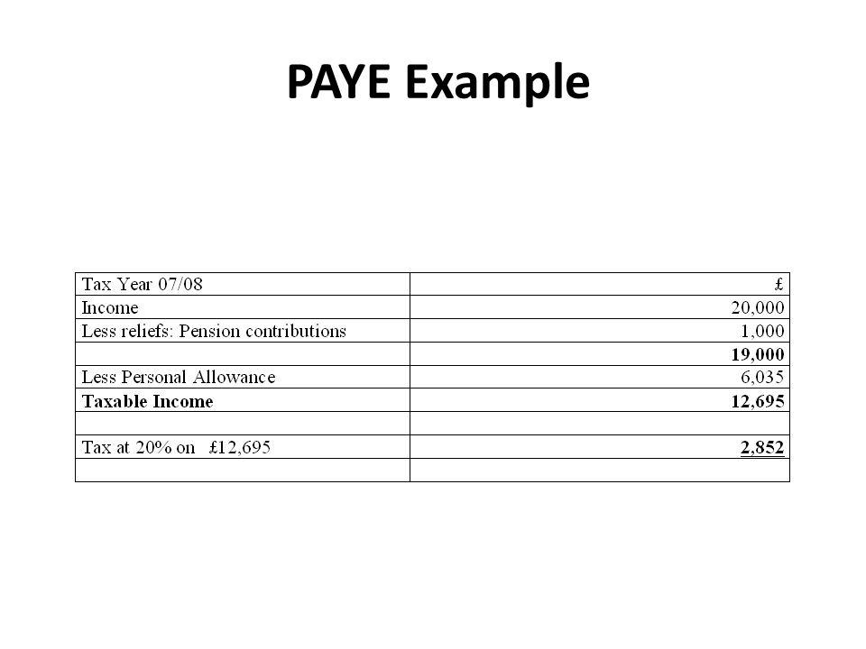 PAYE Example