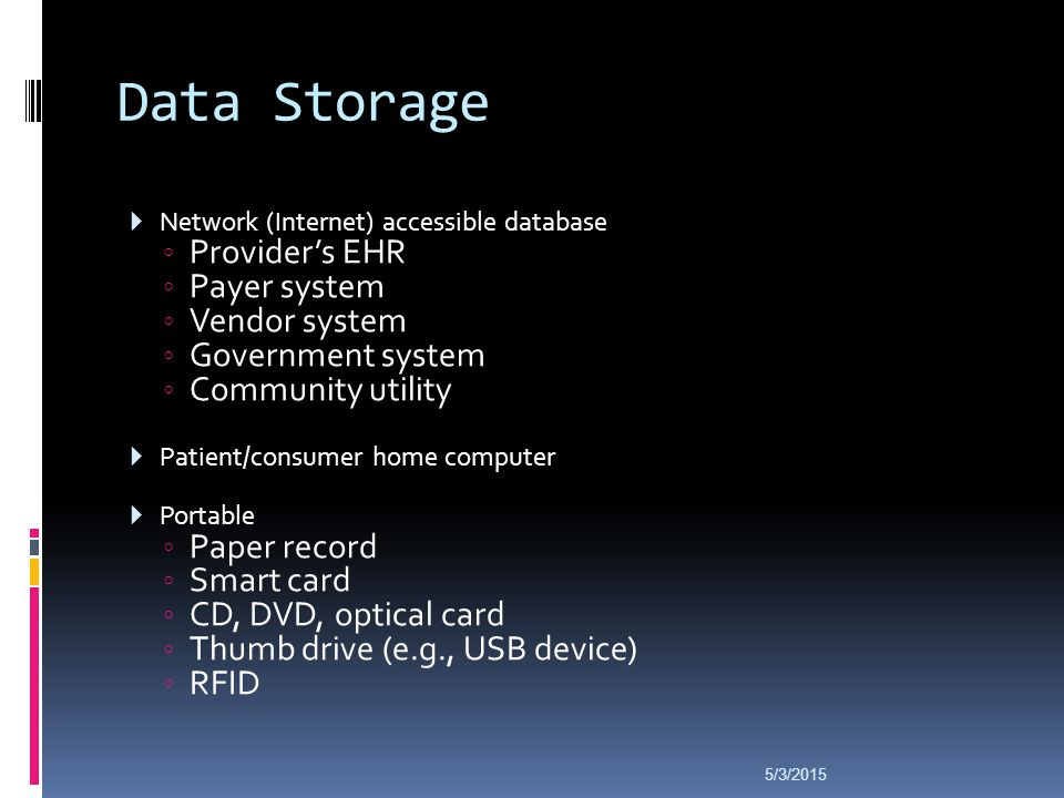 Data Storage  Network (Internet) accessible database ◦ Provider's EHR ◦ Payer system ◦ Vendor system ◦ Government system ◦ Community utility  Patient/consumer home computer  Portable ◦ Paper record ◦ Smart card ◦ CD, DVD, optical card ◦ Thumb drive (e.g., USB device) ◦ RFID 5/3/2015