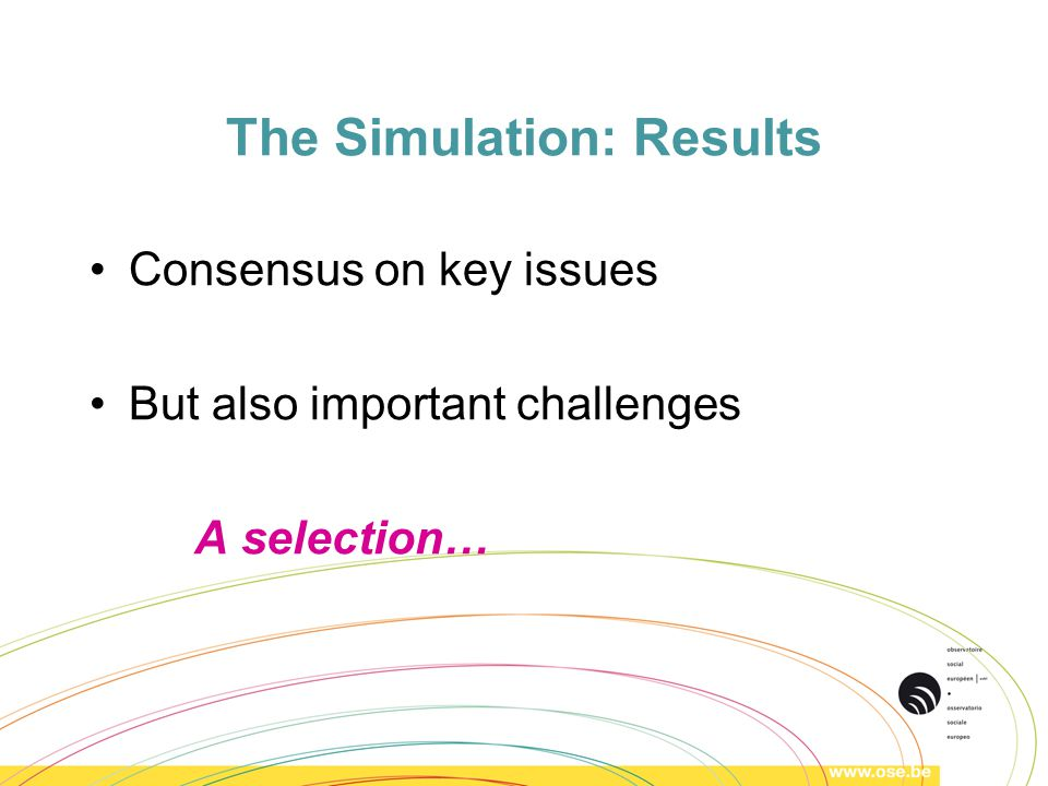 The Simulation: Results Consensus on key issues But also important challenges A selection…