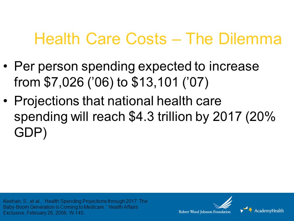 Health Care Costs – The Dilemma Per person spending expected to increase from $7,026 ('06) to $13,101 ('07) Projections that national health care spen
