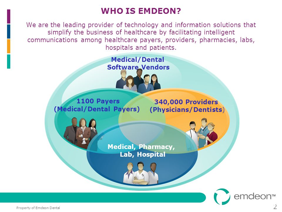 Property of Emdeon Dental 2 WHO IS EMDEON? We are the leading provider of technology and information solutions that simplify the business of healthcar