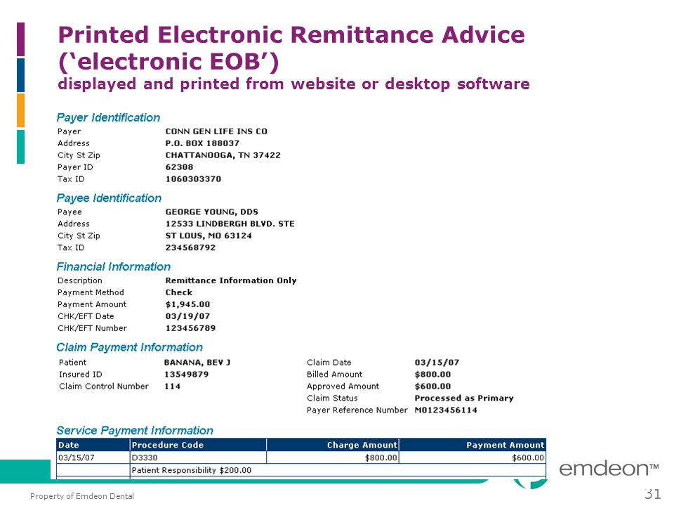 Property of Emdeon Dental 31 Printed Electronic Remittance Advice ('electronic EOB') displayed and printed from website or desktop software