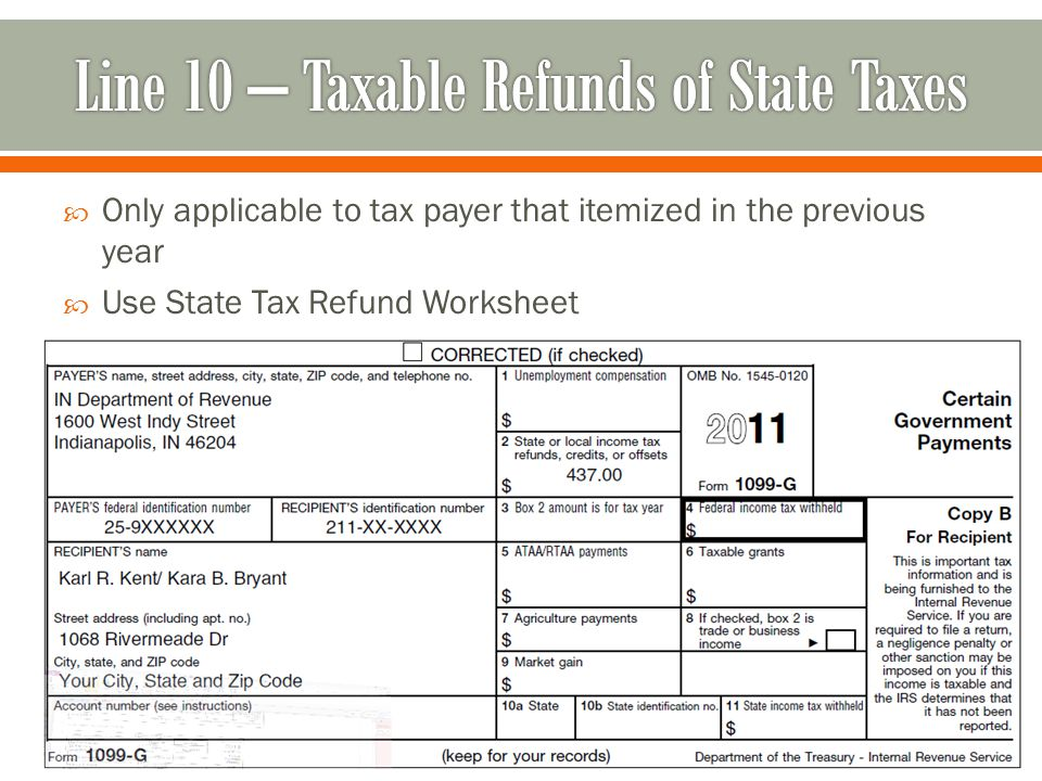  Only applicable to tax payer that itemized in the previous year  Use State Tax Refund Worksheet