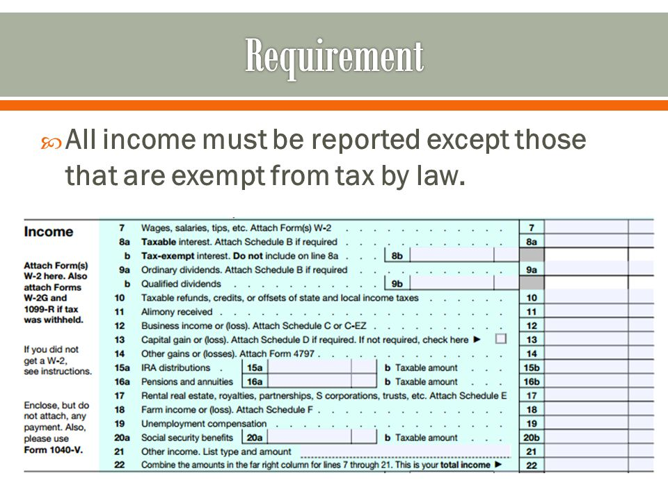  All income must be reported except those that are exempt from tax by law.