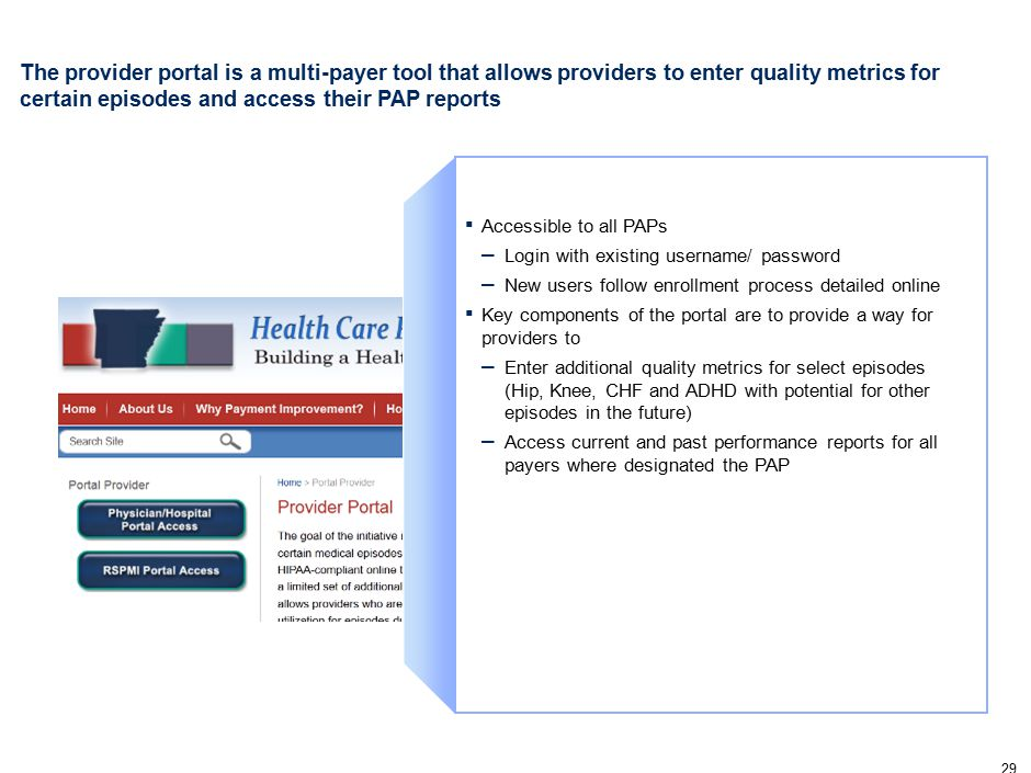 29 The provider portal is a multi-payer tool that allows providers to enter quality metrics for certain episodes and access their PAP reports ▪ Accessible to all PAPs – Login with existing username/ password – New users follow enrollment process detailed online ▪ Key components of the portal are to provide a way for providers to – Enter additional quality metrics for select episodes (Hip, Knee, CHF and ADHD with potential for other episodes in the future) – Access current and past performance reports for all payers where designated the PAP