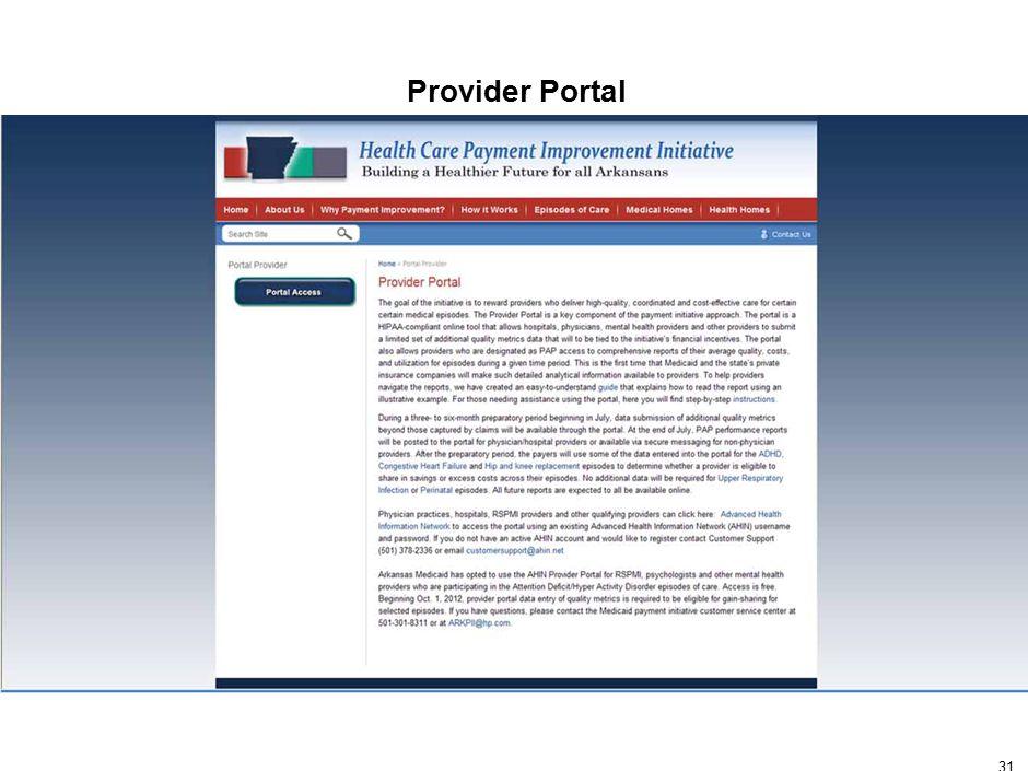 31 Provider Portal