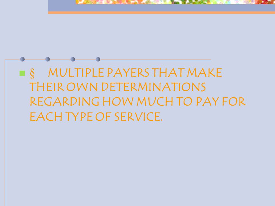  MULTIPLE PAYERS THAT MAKE THEIR OWN DETERMINATIONS REGARDING HOW MUCH TO PAY FOR EACH TYPE OF SERVICE.