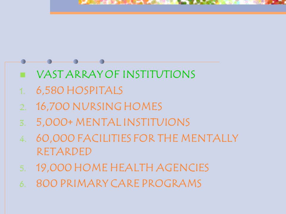 VAST ARRAY OF INSTITUTIONS 1. 6,580 HOSPITALS 2. 16,700 NURSING HOMES 3. 5,000+ MENTAL INSTITUIONS 4. 60,000 FACILITIES FOR THE MENTALLY RETARDED 5. 1