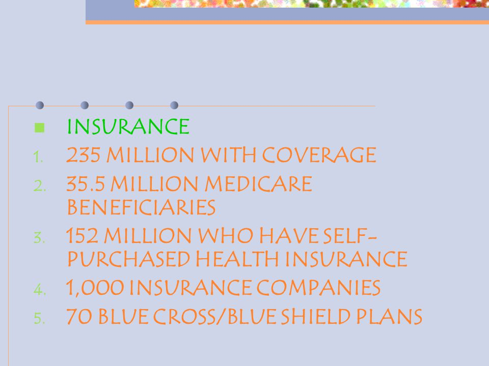 INSURANCE 1. 235 MILLION WITH COVERAGE 2. 35.5 MILLION MEDICARE BENEFICIARIES 3. 152 MILLION WHO HAVE SELF- PURCHASED HEALTH INSURANCE 4. 1,000 INSURA