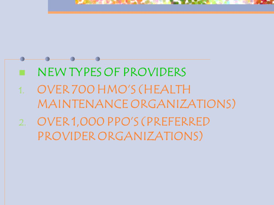 NEW TYPES OF PROVIDERS 1. OVER 700 HMO'S (HEALTH MAINTENANCE ORGANIZATIONS) 2. OVER 1,000 PPO'S (PREFERRED PROVIDER ORGANIZATIONS)