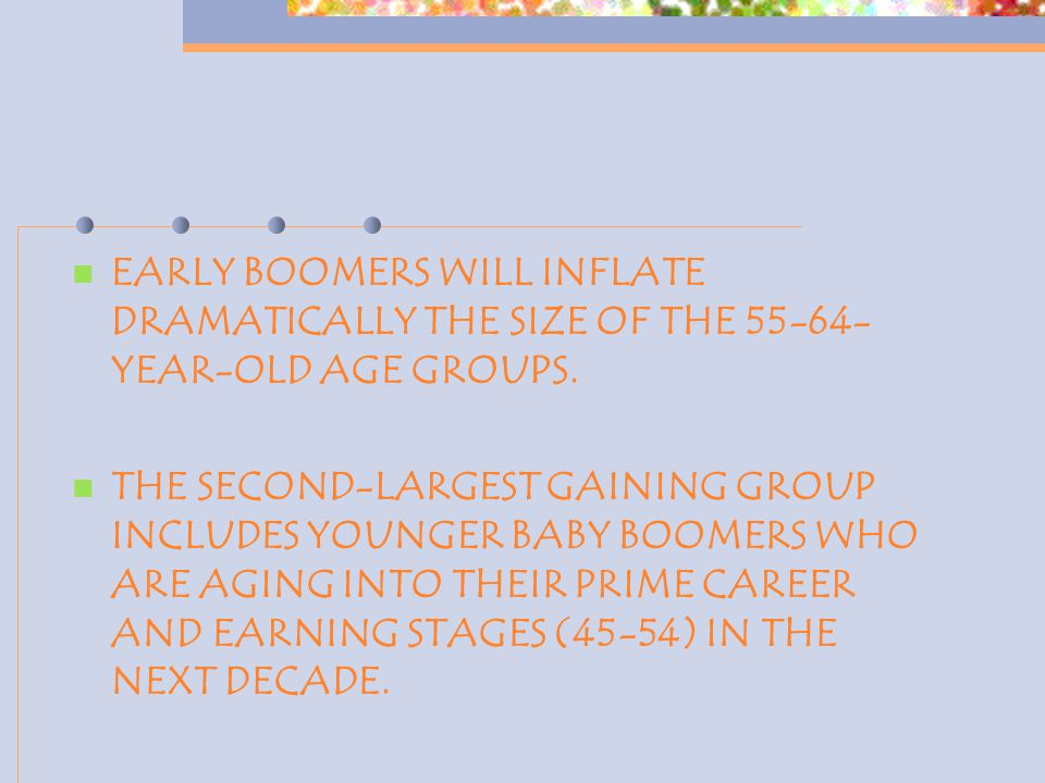 EARLY BOOMERS WILL INFLATE DRAMATICALLY THE SIZE OF THE 55-64- YEAR-OLD AGE GROUPS.