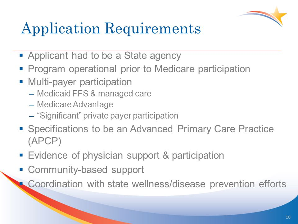 Application Requirements  Applicant had to be a State agency  Program operational prior to Medicare participation  Multi-payer participation –Medicaid FFS & managed care –Medicare Advantage – Significant private payer participation  Specifications to be an Advanced Primary Care Practice (APCP)  Evidence of physician support & participation  Community-based support  Coordination with state wellness/disease prevention efforts 10