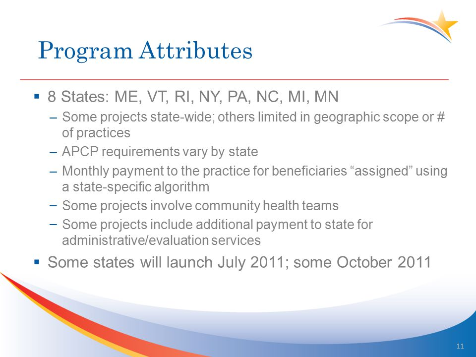 Program Attributes  8 States: ME, VT, RI, NY, PA, NC, MI, MN –Some projects state-wide; others limited in geographic scope or # of practices –APCP requirements vary by state –Monthly payment to the practice for beneficiaries assigned using a state-specific algorithm – Some projects involve community health teams – Some projects include additional payment to state for administrative/evaluation services  Some states will launch July 2011; some October 2011 11