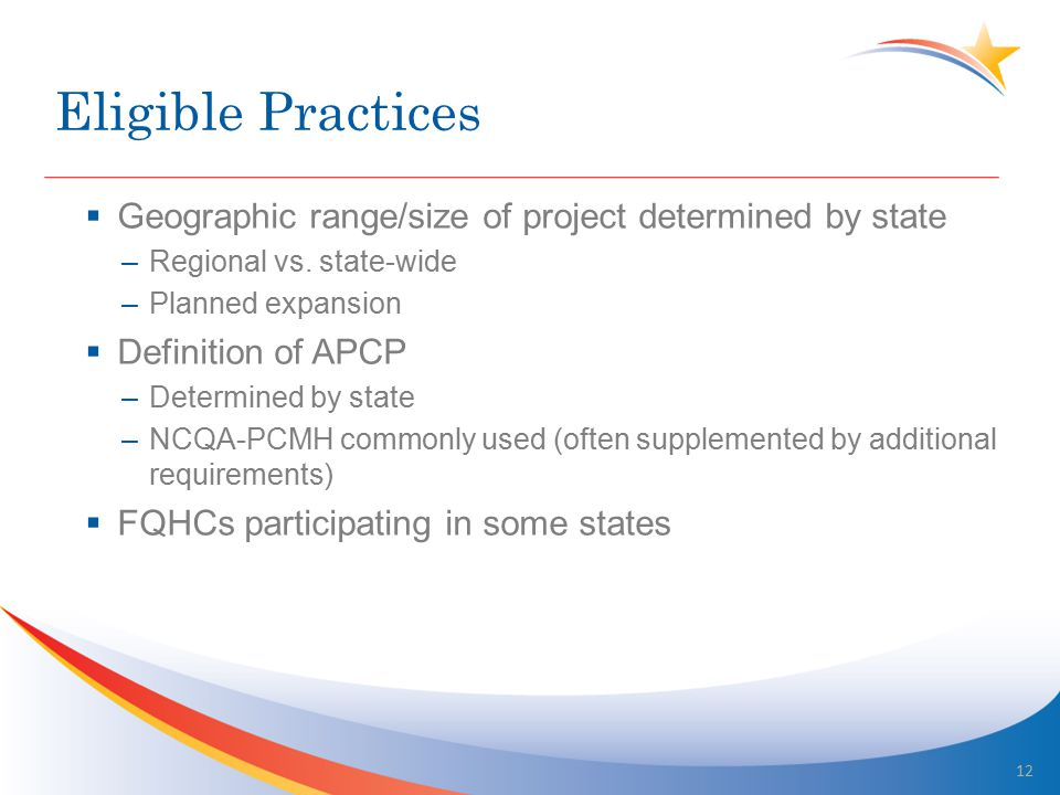 Eligible Practices  Geographic range/size of project determined by state –Regional vs. state-wide –Planned expansion  Definition of APCP –Determined