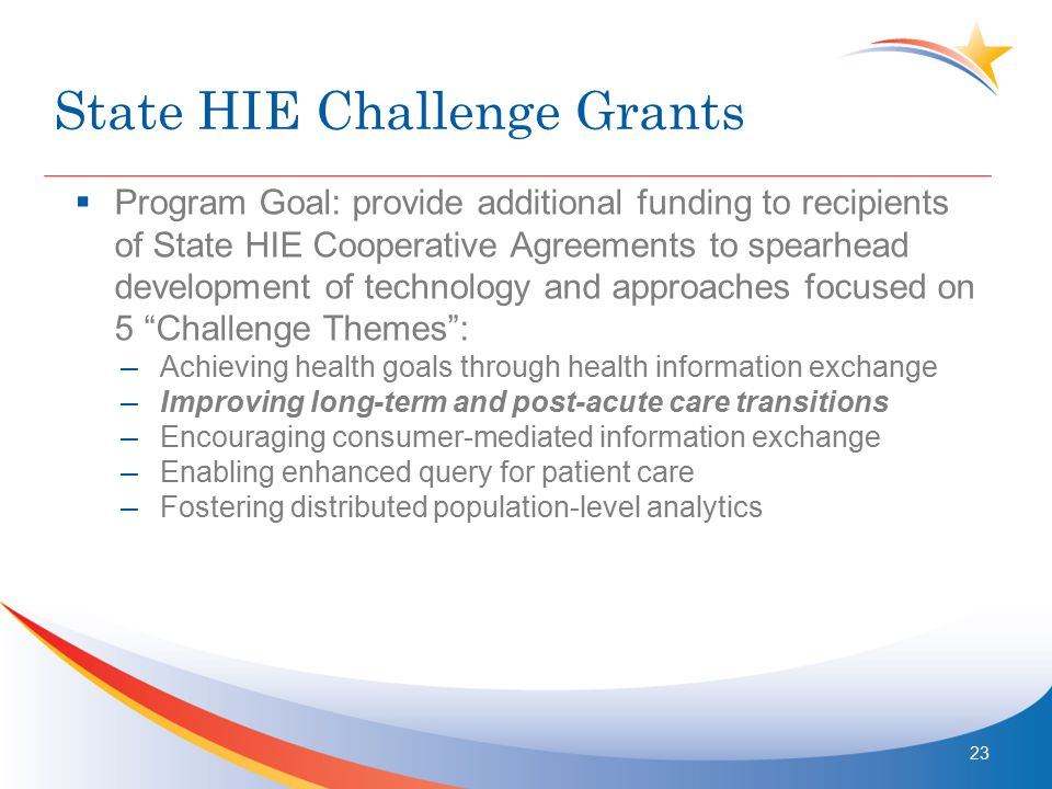 State HIE Challenge Grants  Program Goal: provide additional funding to recipients of State HIE Cooperative Agreements to spearhead development of technology and approaches focused on 5 Challenge Themes : – Achieving health goals through health information exchange – Improving long-term and post-acute care transitions – Encouraging consumer-mediated information exchange – Enabling enhanced query for patient care – Fostering distributed population-level analytics 23
