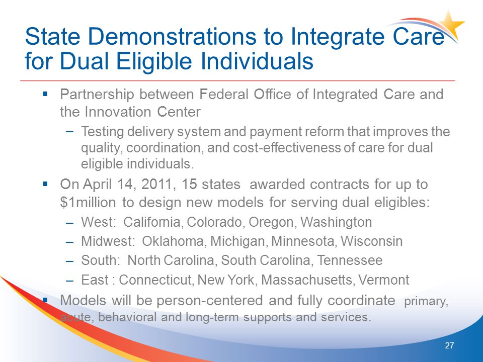 State Demonstrations to Integrate Care for Dual Eligible Individuals  Partnership between Federal Office of Integrated Care and the Innovation Center