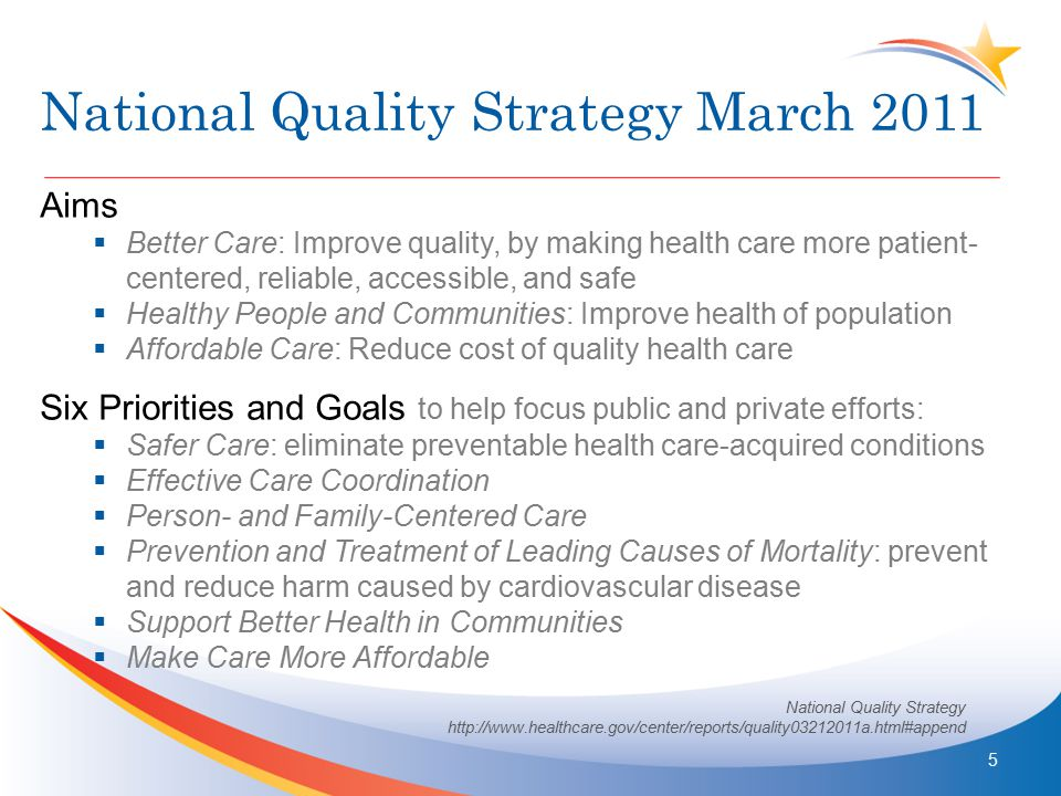 National Quality Strategy March 2011 Aims  Better Care: Improve quality, by making health care more patient- centered, reliable, accessible, and safe