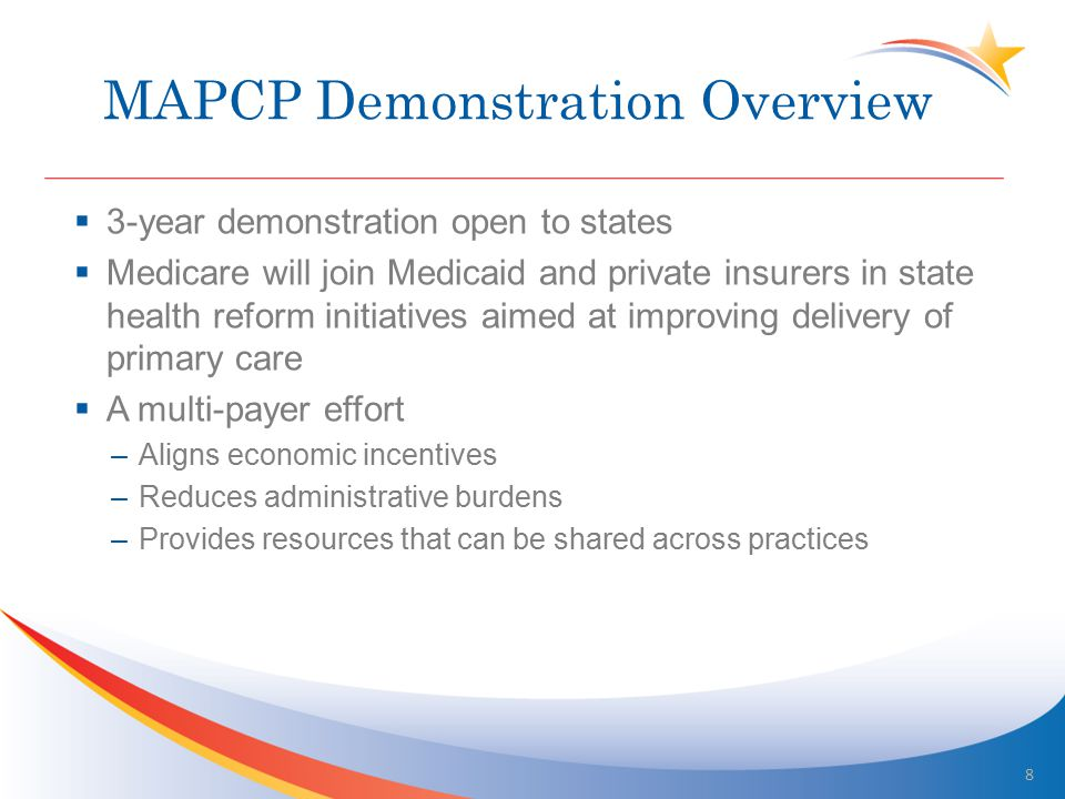 MAPCP Demonstration Overview  3-year demonstration open to states  Medicare will join Medicaid and private insurers in state health reform initiatives aimed at improving delivery of primary care  A multi-payer effort –Aligns economic incentives –Reduces administrative burdens –Provides resources that can be shared across practices 8