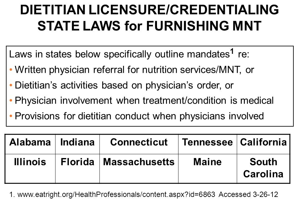 DIETITIAN LICENSURE/CREDENTIALING STATE LAWS for FURNISHING MNT Laws in states below specifically outline mandates 1 re: Written physician referral fo