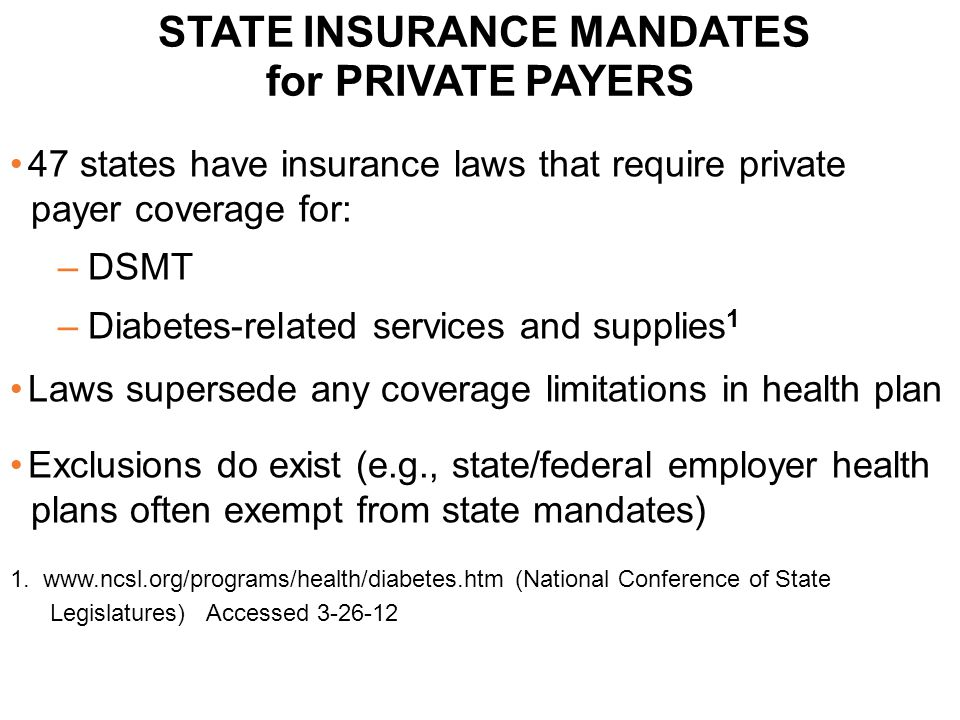 47 states have insurance laws that require private payer coverage for: –DSMT –Diabetes-related services and supplies 1 Laws supersede any coverage lim