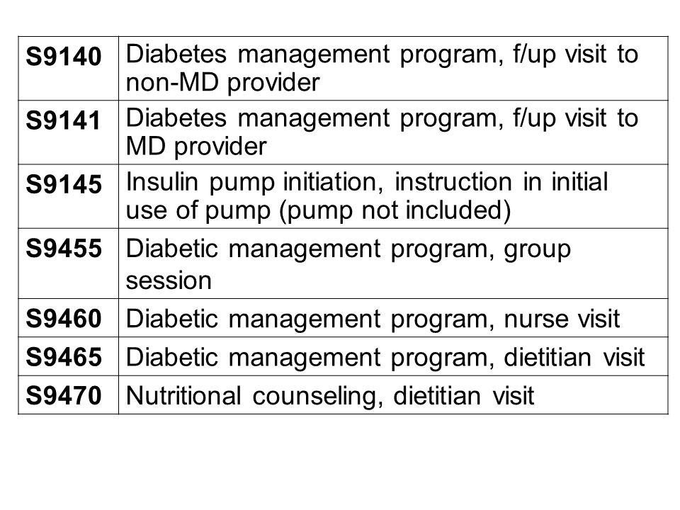 S9140 Diabetes management program, f/up visit to non-MD provider S9141 Diabetes management program, f/up visit to MD provider S9145 Insulin pump initi