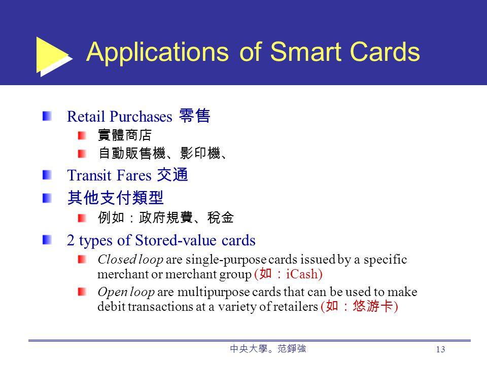 中央大學。范錚強 13 Applications of Smart Cards Retail Purchases 零售 實體商店 自動販售機、影印機、 Transit Fares 交通 其他支付類型 例如:政府規費、稅金 2 types of Stored-value cards Closed loop are single-purpose cards issued by a specific merchant or merchant group ( 如: iCash) Open loop are multipurpose cards that can be used to make debit transactions at a variety of retailers ( 如:悠游卡 )