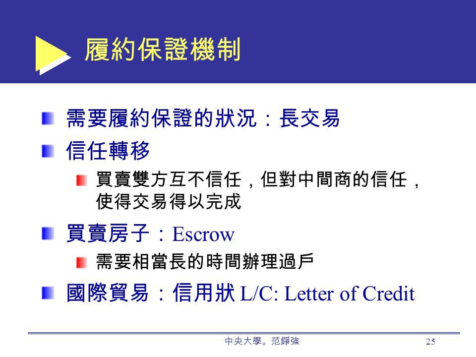 中央大學。范錚強 25 履約保證機制 需要履約保證的狀況:長交易 信任轉移 買賣雙方互不信任,但對中間商的信任, 使得交易得以完成 買賣房子: Escrow 需要相當長的時間辦理過戶 國際貿易:信用狀 L/C: Letter of Credit
