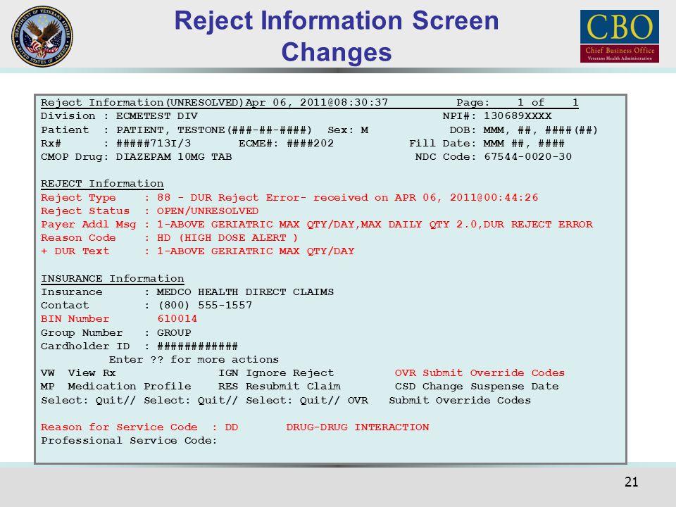21 Reject Information(UNRESOLVED)Apr 06, 2011@08:30:37 Page: 1 of 1 Division : ECMETEST DIV NPI#: 130689XXXX Patient : PATIENT, TESTONE(###-##-####) S