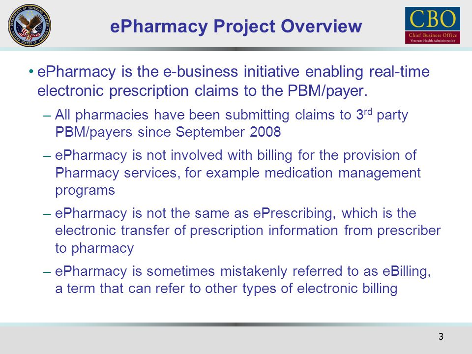 24 Phase 6 cont An indicator for ePharmacy prescriptions will be provided via OPAI A new option 'View ECME Rx' will be available that will provide a user all the information regarding an ePharmacy prescription The Issue Date transmitted on claims for ePharmacy prescriptions entered with a future 'Issue Date' will be changed to the current date Claims submitted by the OPECC using the Process Secondary/TRICARE Rx to ECME option, will reflect that in the Prescription activity log