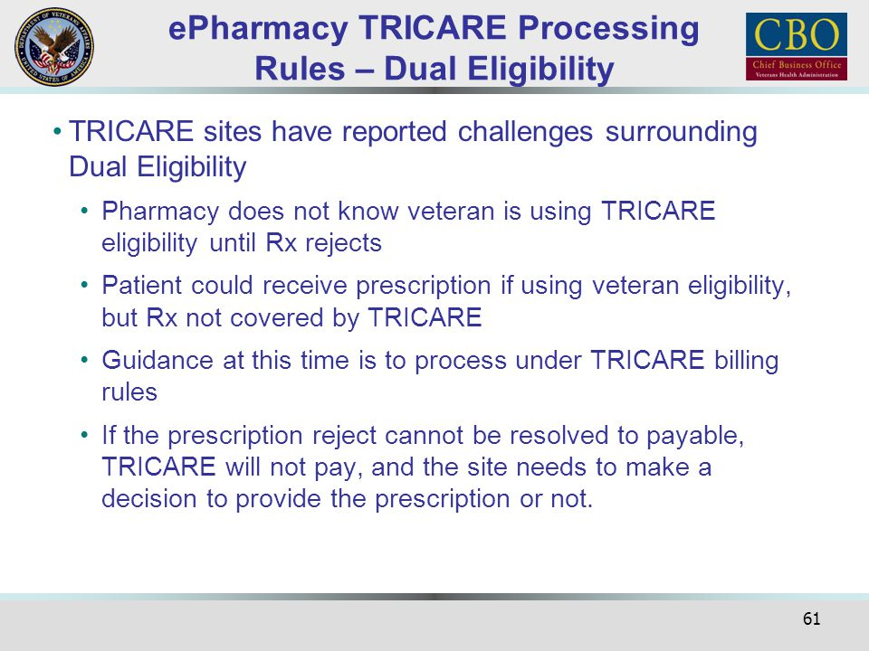 61 ePharmacy TRICARE Processing Rules – Dual Eligibility TRICARE sites have reported challenges surrounding Dual Eligibility Pharmacy does not know ve