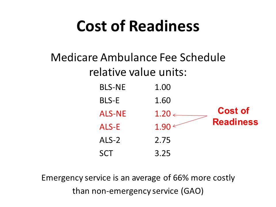Medicare Ambulance Fee Schedule relative value units: BLS-NE1.00 BLS-E1.60 ALS-NE1.20 ALS-E1.90 ALS-22.75 SCT3.25 Emergency service is an average of 66% more costly than non-emergency service (GAO) Cost of Readiness