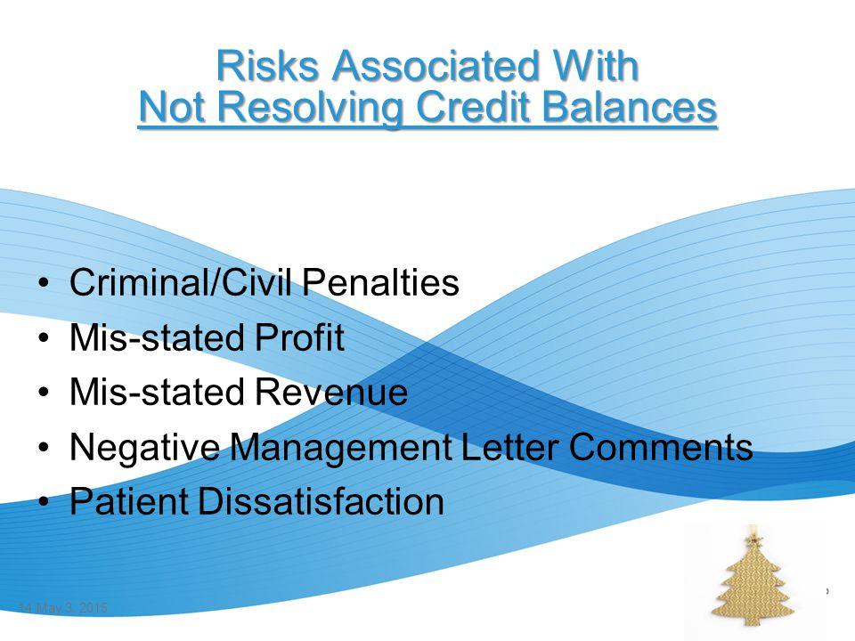 Risks Associated With Not Resolving Credit Balances Criminal/Civil Penalties Mis-stated Profit Mis-stated Revenue Negative Management Letter Comments