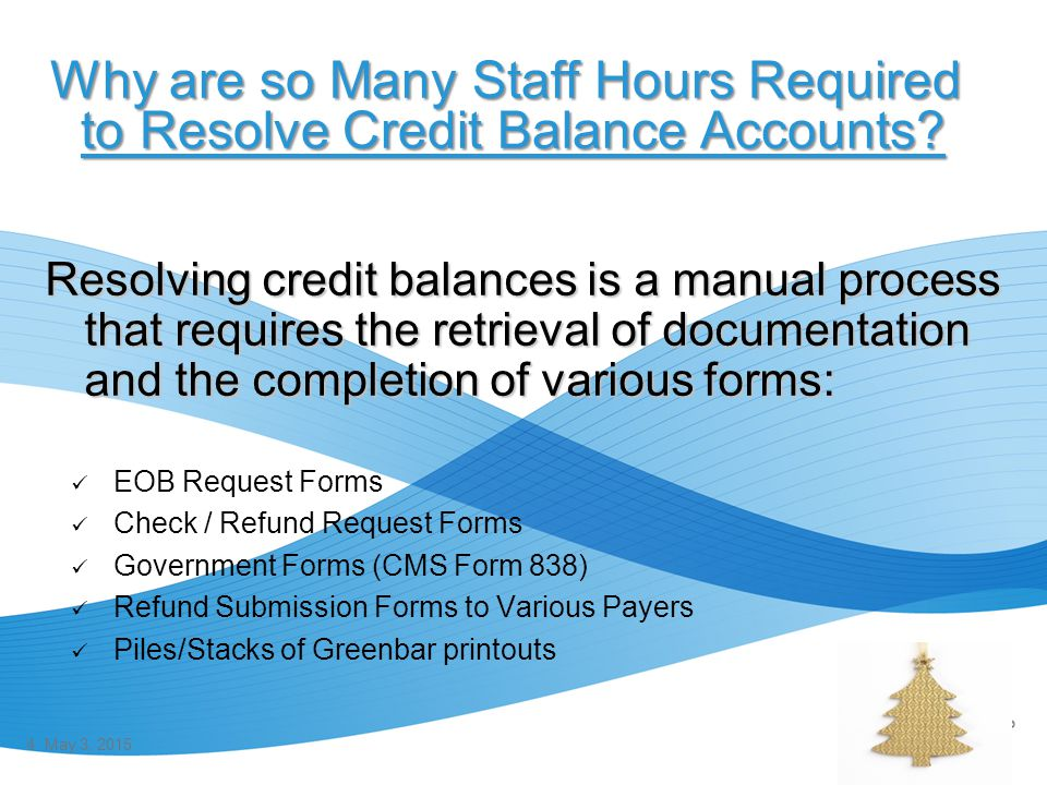 Benefits to Using Automation to Resolve Credit Balance Accounts Allows the Provider to process outstanding backlog of credit balances without having to add additional staff Greatly reduces the costs associated with processing credit balance accounts Minimizes the possibility of manual errors and potential fraudulent activity Ensures ongoing, timely processing of credit balances Simplifies and speeds up daily procedures May 3, 2015 15
