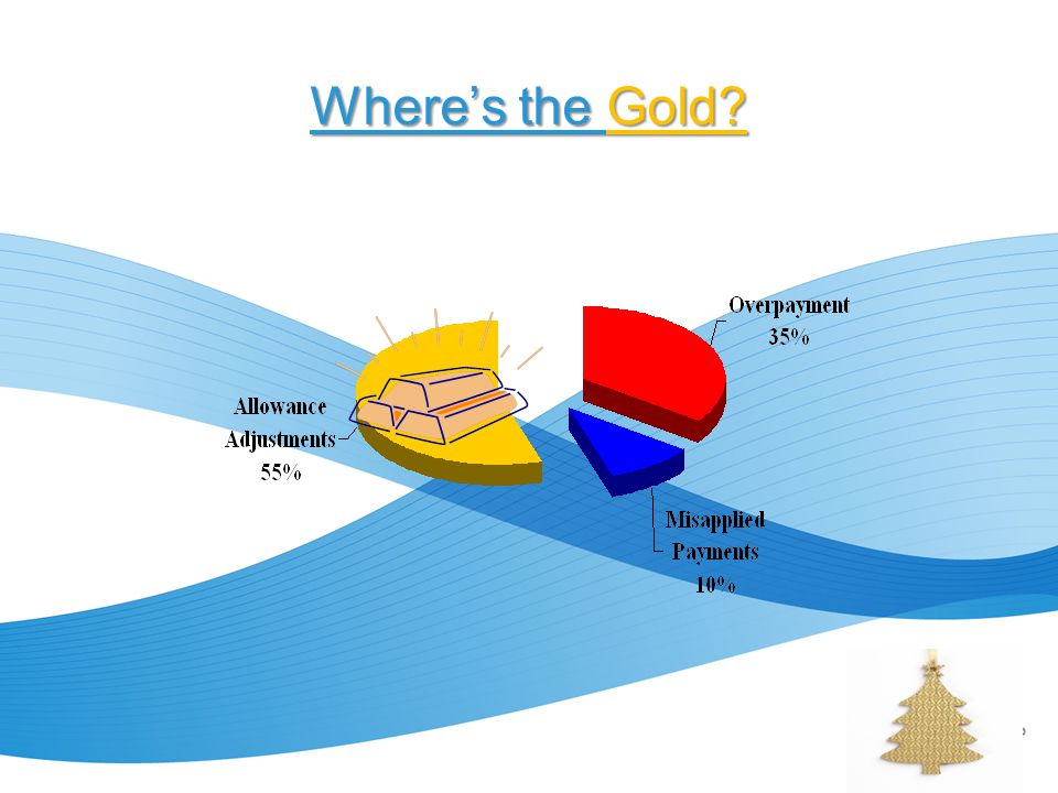 Finding YOUR Gold Determine YOUR ratio's Run reports – based on payment service codes – based on allowance service codes (NOT based on FC, Ins Bucket or Ins Plan Code) Review your credit balance policies/procedures to ensure findings supported – Handling of small balance write-offs for both credit and debit balances – Approval levels appropriate for today's environment.