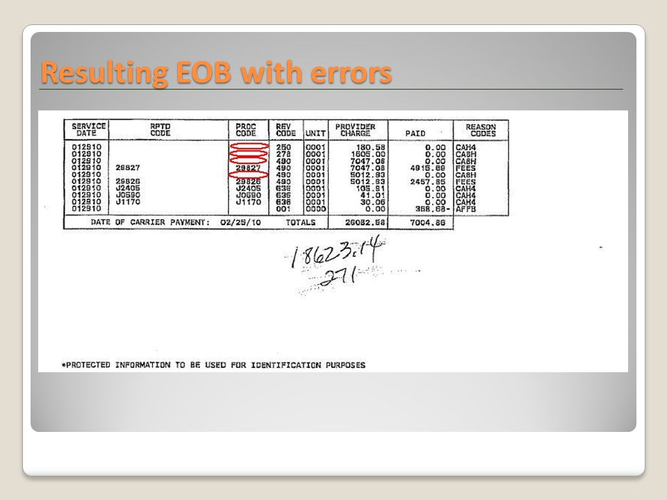 Resulting EOB with errors