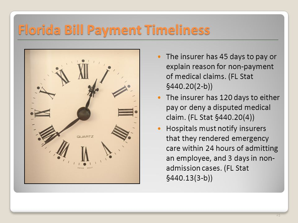 Florida Bill Payment Timeliness The insurer has 45 days to pay or explain reason for non-payment of medical claims. (FL Stat §440.20(2-b)) The insurer