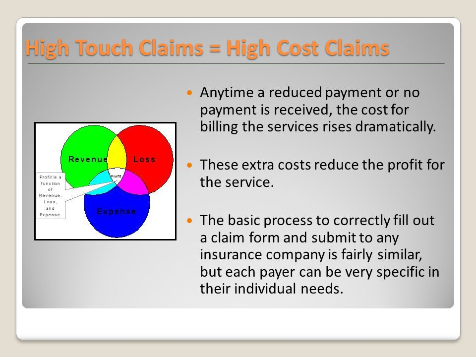 High Touch Claims = High Cost Claims Anytime a reduced payment or no payment is received, the cost for billing the services rises dramatically. These