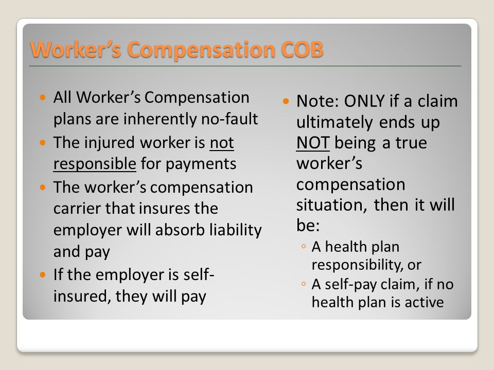 All Worker's Compensation plans are inherently no-fault The injured worker is not responsible for payments The worker's compensation carrier that insu
