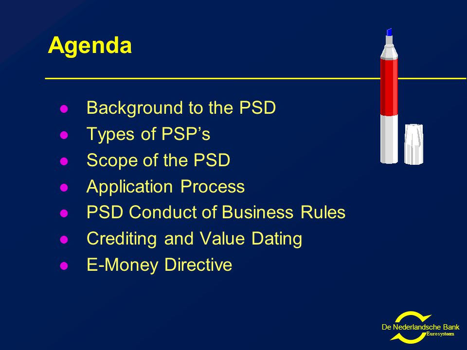 Eurosysteem Agenda Background to the PSD Types of PSP's Scope of the PSD Application Process PSD Conduct of Business Rules Crediting and Value Dating E-Money Directive
